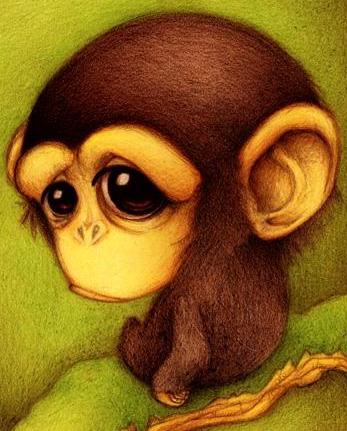 Dibujo de un chimpancé triste