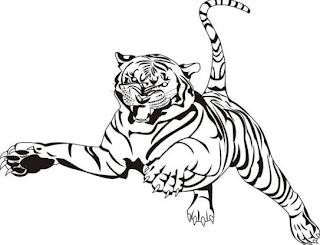 Dibujo de un tigre saltando para colorear