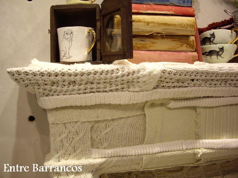 Entre barrancos decoraci n chimenea con restos de pulover for Forrar chimenea