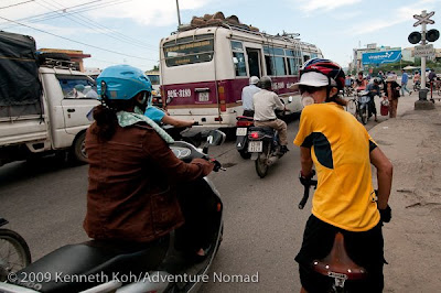 Rush hour in Danang, Vietnam.