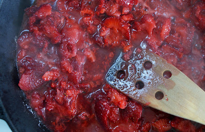 Strawberries+cooking Skillet Strawberry Jam (with Vanilla)