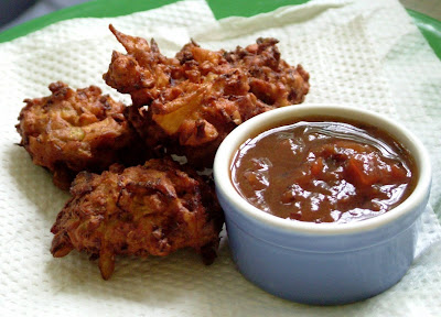 Pakoras Day 250: Pakoras with Chutney, Burgers and Chocolate Chip Cookie Dough