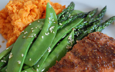 Salmon+with+sesame+peas+%26+asparagus Grainy Mustard Balsamic Salmon, Sesame Asparagus and Snap Peas, and Orange Mashed Sweet Potatoes