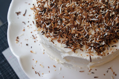 Coconut+Cake+with+Coconut+top Maple Rosemary Ribs and Creamy Coconut Cake