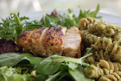 Grilled+Lime+Chicken+and+Broccoli+Pesto Grilled Garlic Lime Chicken on Greens and Pasta with Pesto