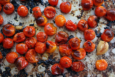 Roasted+cherry+tomatoes+ +on+pan Roasted Cherry Tomato and Goat Cheese Clafoutis