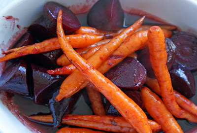 Carrots+%26+Beets Roast Lemon Chicken with Rosemary and New Potatoes, and Balsamic Carrots & Beets