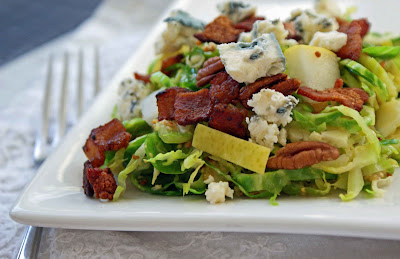 Brussels%2BSprout%2BSlaw%2Bw.%2BBlue Brussels Sprout Slaw with Pears, Bacon, Walnuts and Blue Cheese