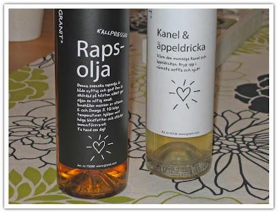 Fina flaskor, olja o dricka, närbild