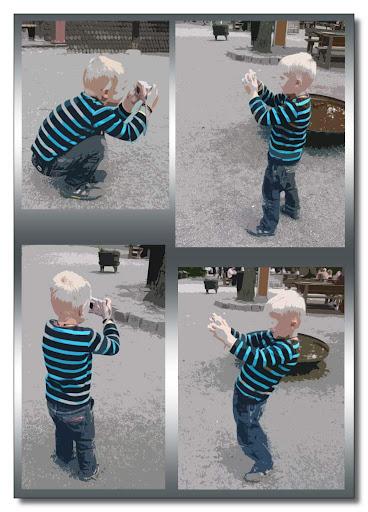 Liten fotograf in action