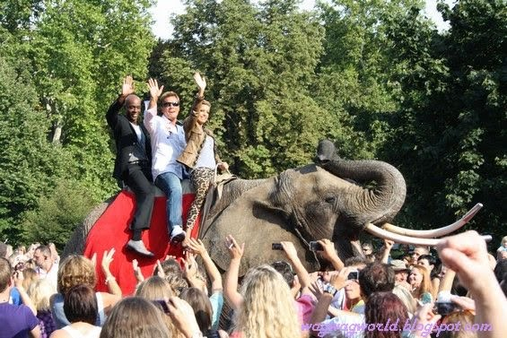Sylvie  van der Vaart Riding An Elephant