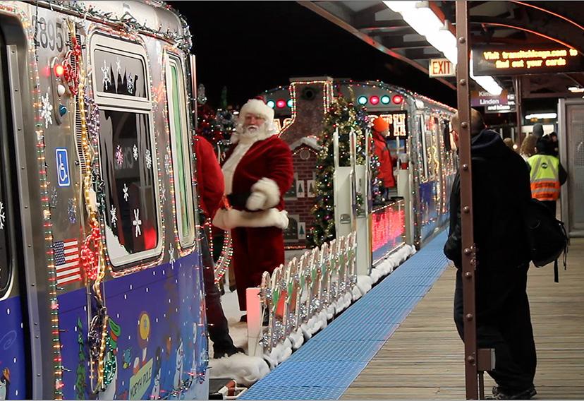 Santa Claus, CTA Holiday train, Christmas, 2010