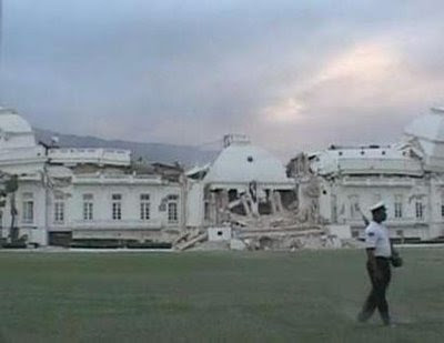 The Presidential Palace in Haiti is heavily damaged.