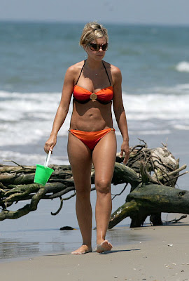 Kate Gosselin on the beach in a bikini.