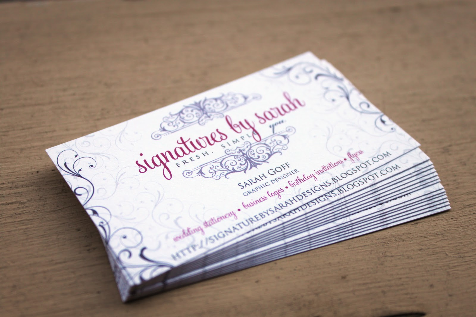 Signatures by Sarah: REAL THING: Business cards for Signatures by ...