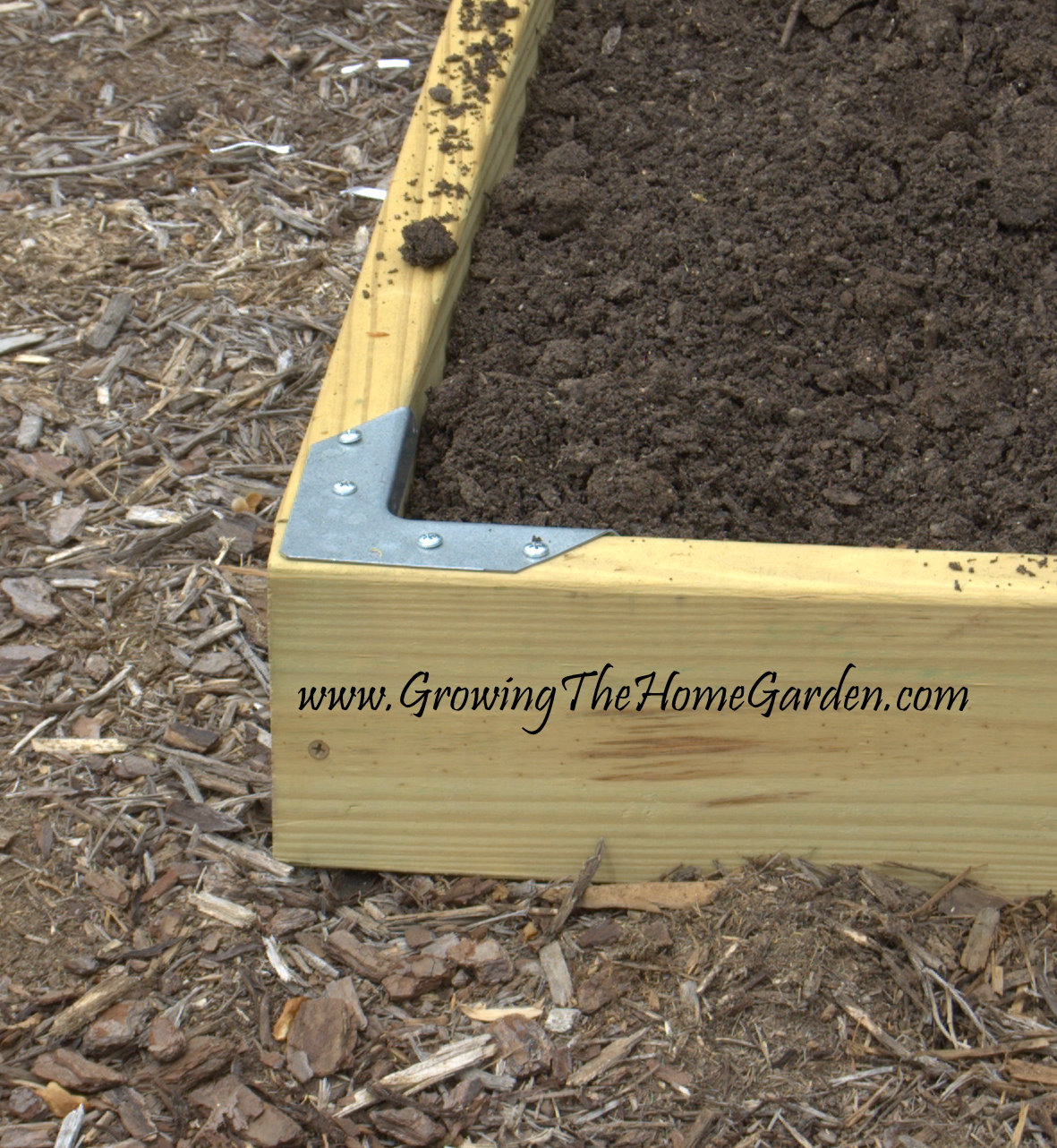 using brackets for diy corners on raised beds - growing the home