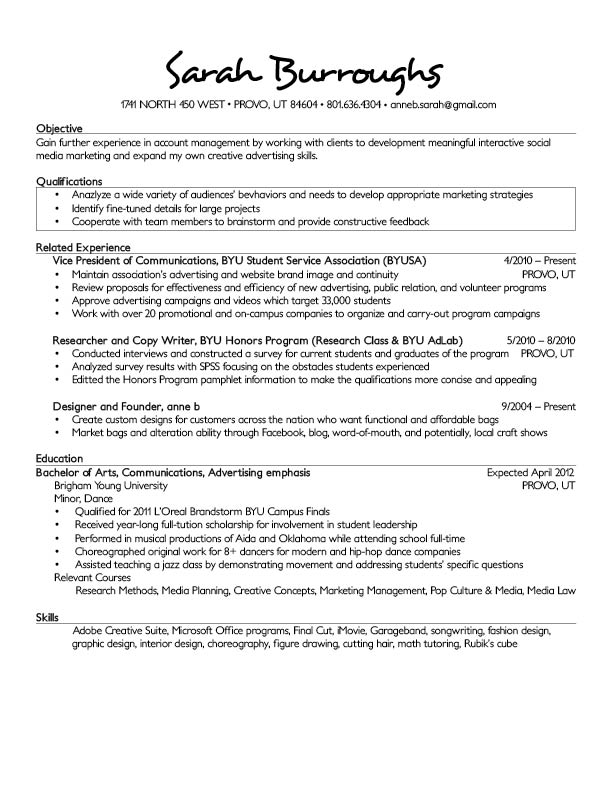 rough draft of a resumes