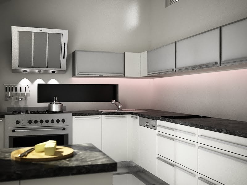 3d Architectural Visualization White Kitchen