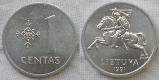 lithuania 1 cent 1991