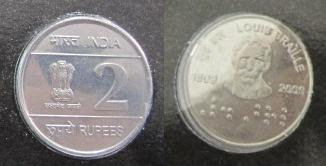 Louis braille 2 rupee