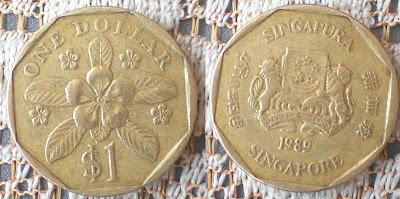 singapore one dollar 1989