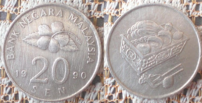 malaysian 20 sen 1990