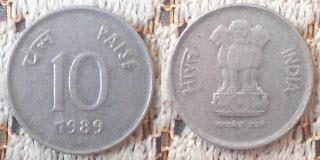 india 10 paisa 1989