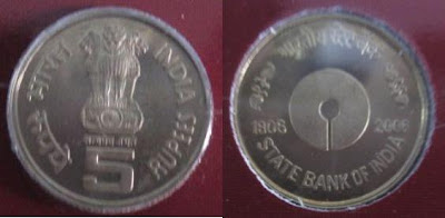 sbi proof set 5 rupee copper nickel