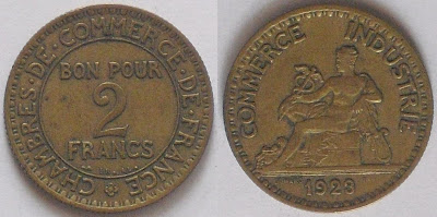 2 franc 1923 chmaber commerce