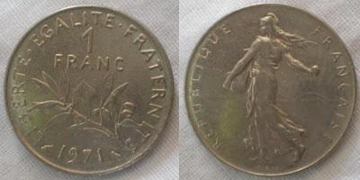 france 1 franc seed sower 1971
