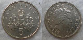 england 5 pence 2001
