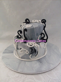 Mad  Hatters Cake, marbled effect.