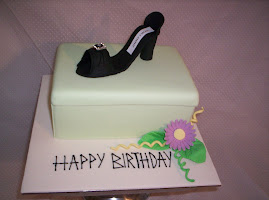Jimmy Choo , hand made sugar shoe placed on a cake shoe box..