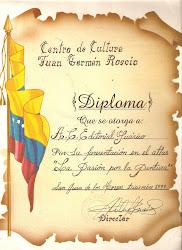 RECONOCIMIENTO POR PARTE DEL PARQUE ROSCIO A LA EDITORIAL GUÁRICO.1999.