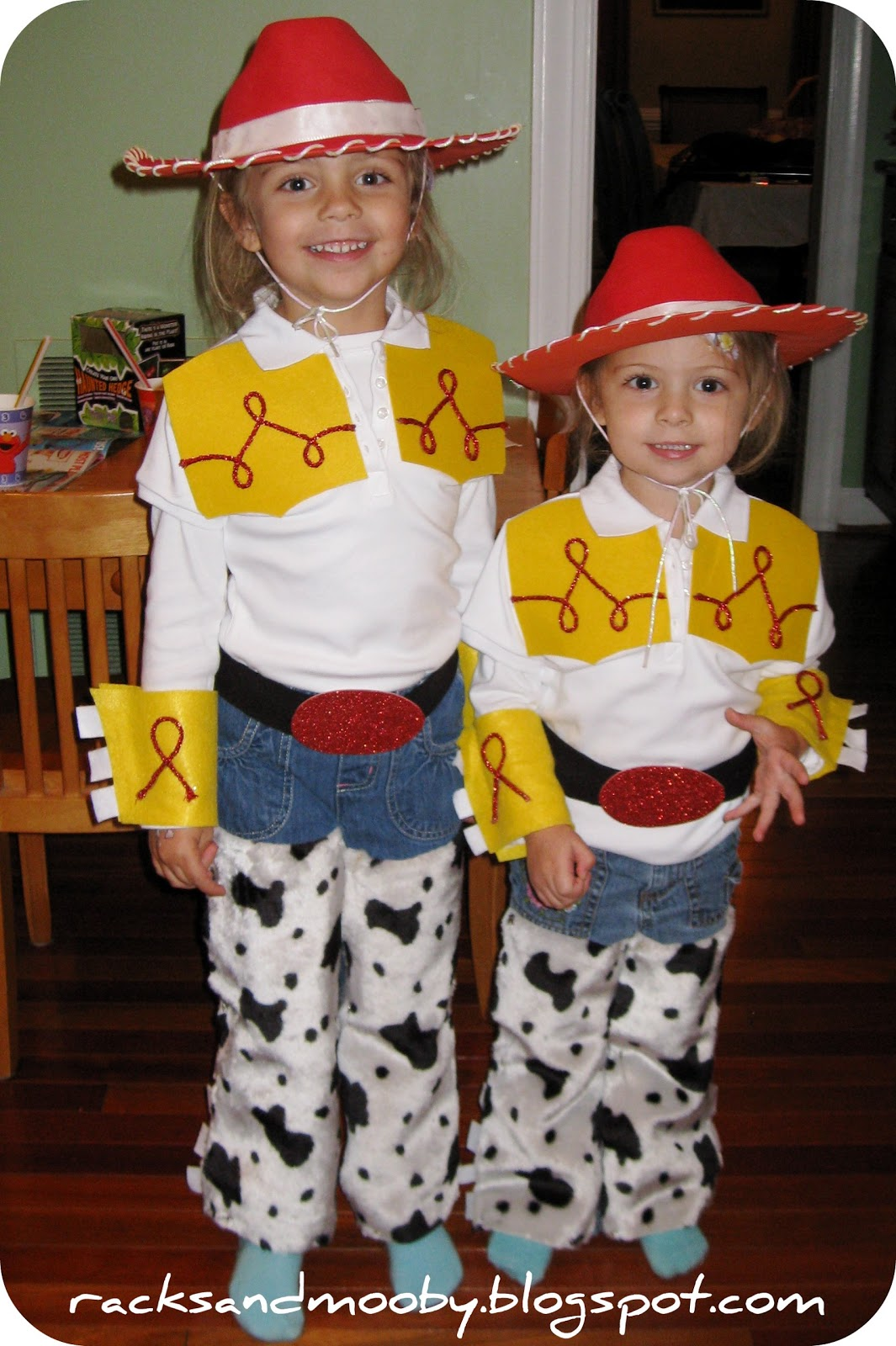 Racks and mooby diy jessie toy story toddler costume no sewing sweetpea and boogey as jessie from toy story halloween 2010 solutioingenieria Images