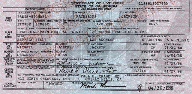 birth certificate paris jackson michael prince death blanket fanpop katherine mj hoax without