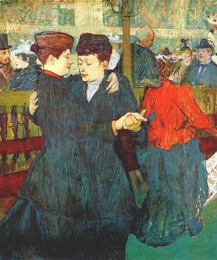 En el Moulin Rouge. Dos mujeres bailando