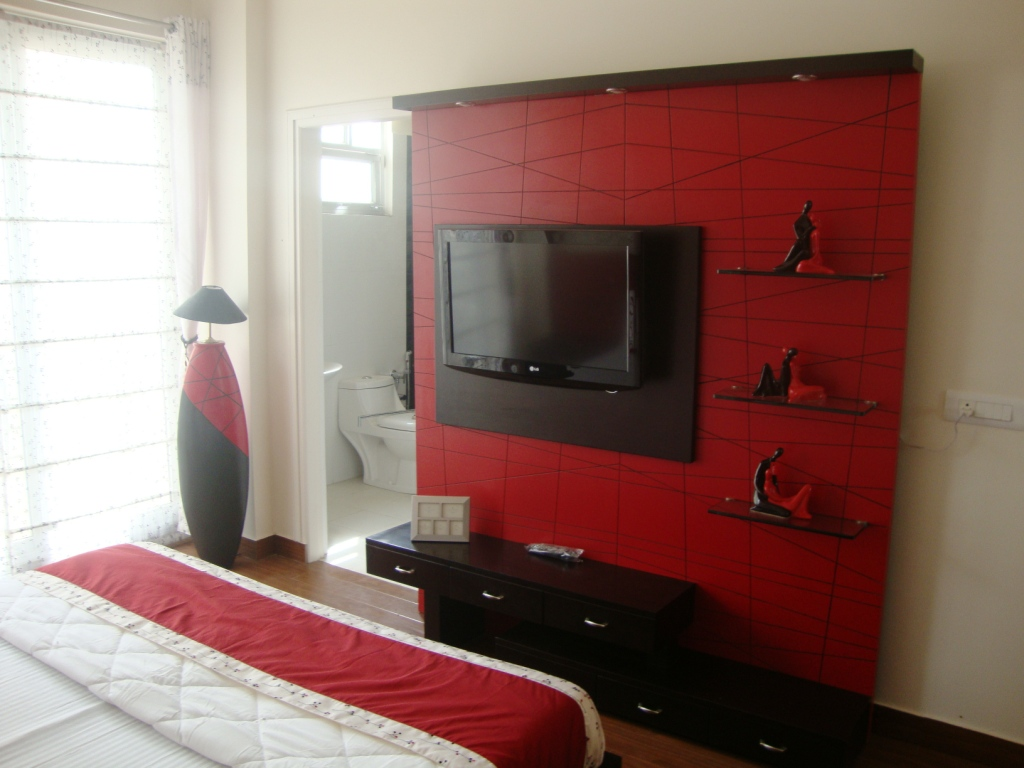 Inspiring Contemporary Bedroom In Red, Black And White