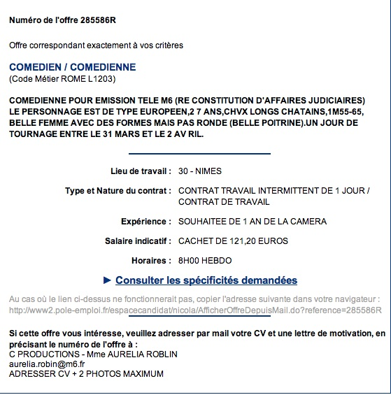 Pole Emploi Poitrine Casting Comedienne M6