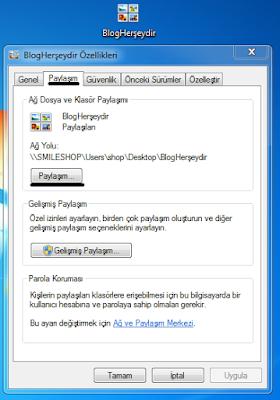 Windows 7 dosya paylaşımı
