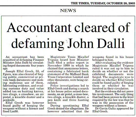 John Dalli's Victim Accquited