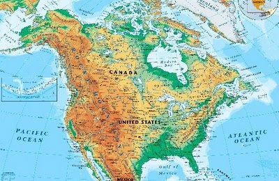 Online Maps North America Physical Map - United states and canada map