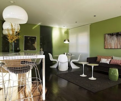 un ejemplo de casa entera decorada en color verde la