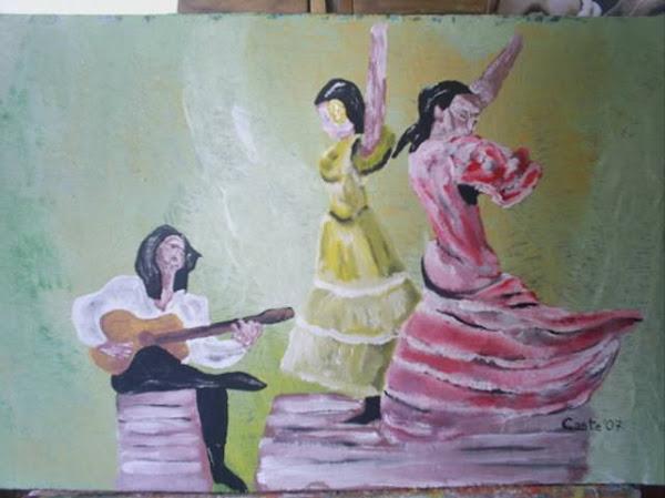 Dos bailaoras y un guitarrista