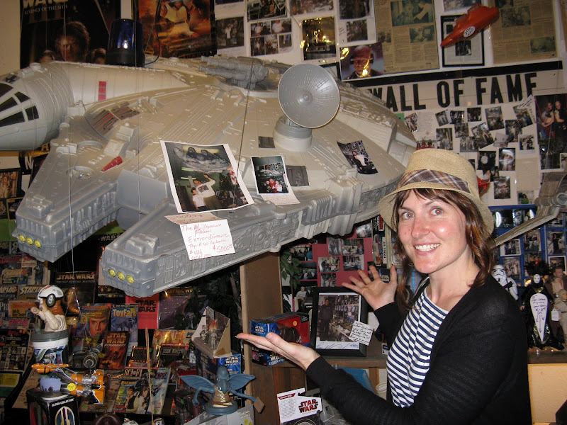 Shannon with a giant Millenium Falcon. Only 1000 were made. title=