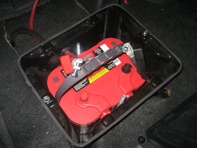 Red Top Battery Relocated to Trunk