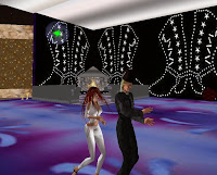 Dancing, sort of, with the lovely 'hannah' in a club somewhere. Like the hat and monocle? I'm such a fashion plate