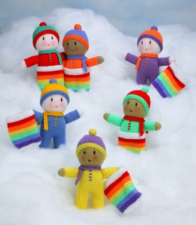 Free Jean Greenhowe Knitting Patterns : Dolly Donations: Free Knitted Dollies: Jean Greenhowes Rainbow Babies