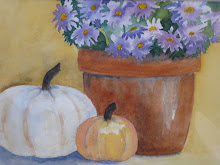 Purple Asters and Pumpkins