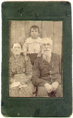 Blaine Plemons with Grandmother Nancy Parks Shubert and her husband Henry Mitchell Shubert in Civil War Uniform